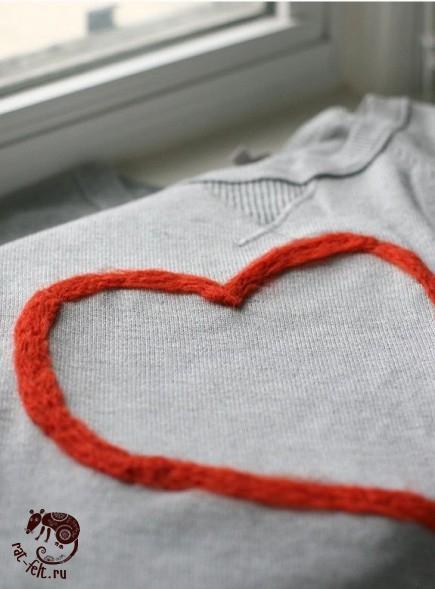 как привалять сердце к свитеру