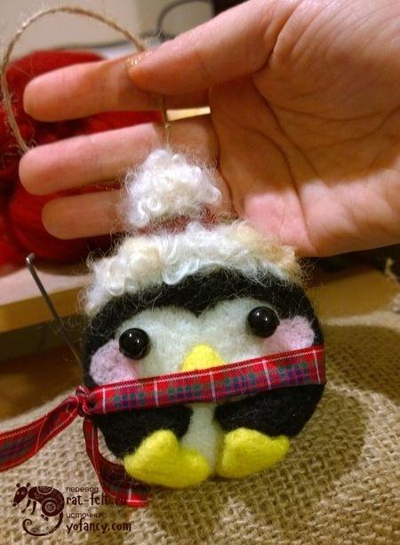 валяный пингвин елочная игрушка