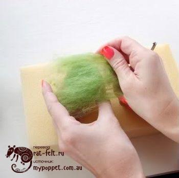 Добавить шерсть к заготовки киви