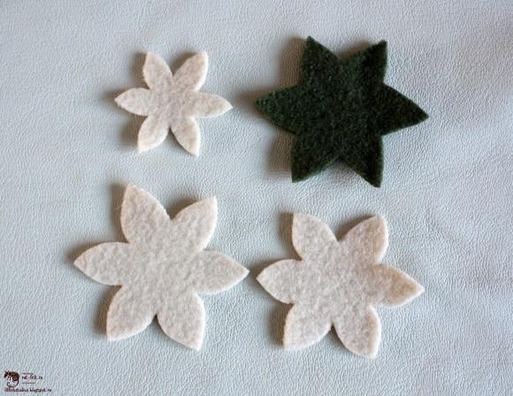 Заготовки для фетровой броши - цветка