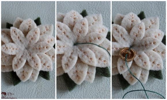 Этапы создания брошки в виде цветка из фетра
