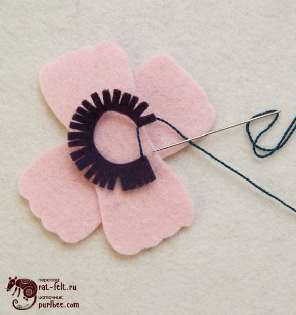 Пришиваем бахрому к цветку
