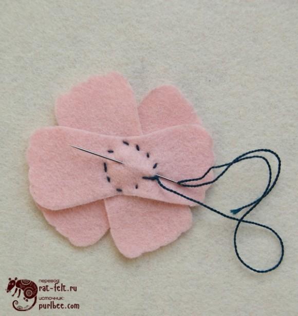 Обратная сторона магнита из фетрового цветка