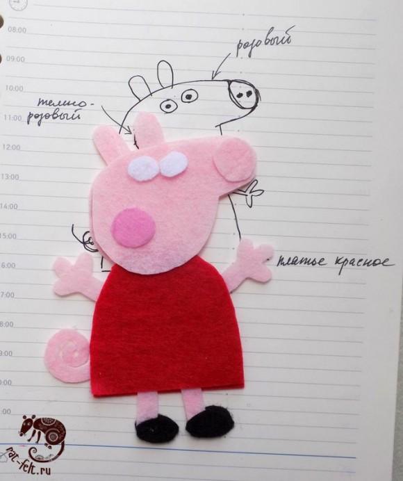 Детали свинки Пеппы из фетра