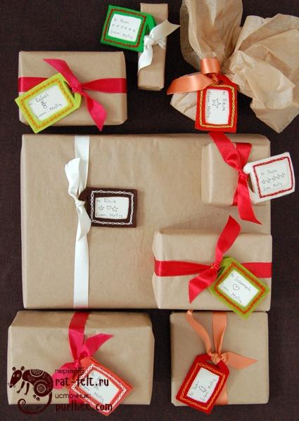 Бирки из фетра - прекрасное украшение подарков