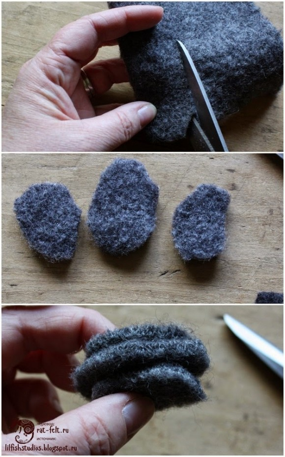 Заготовки для камня из шерстяного свитера