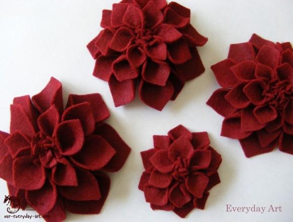 Фетровые красные хризантемы
