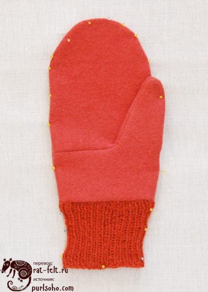 Приколотые рукавицы к полотенцу
