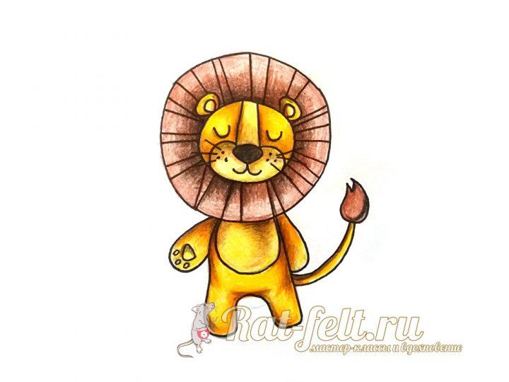 красочный, мультяшный лев готов