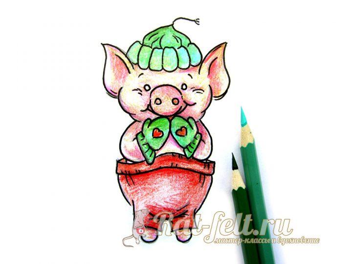зеленым карандашом