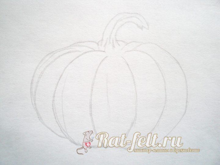 рисуем тыкву простым карандашом