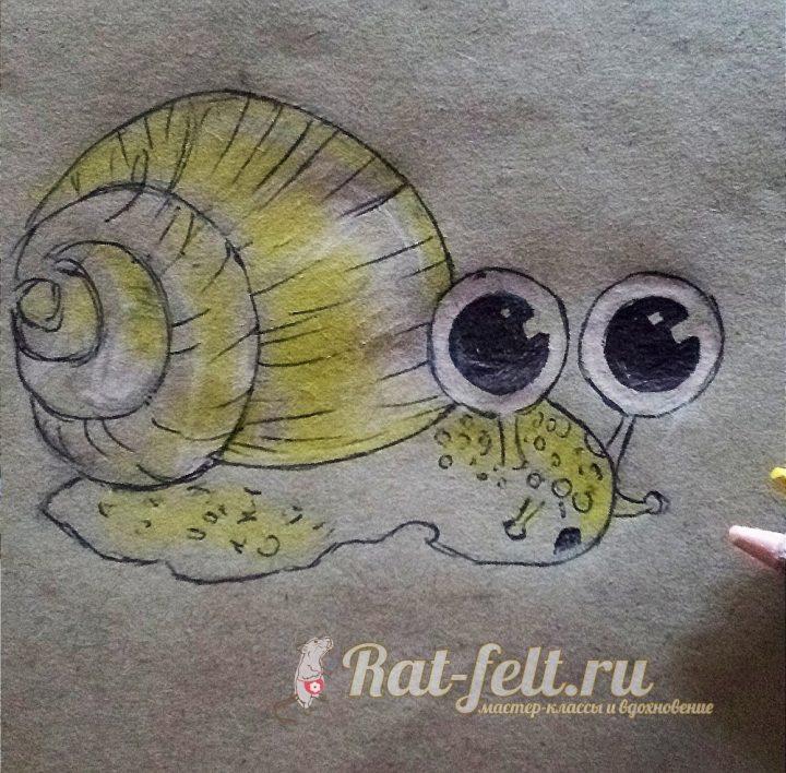 разрисовываем жёлтым карандашом
