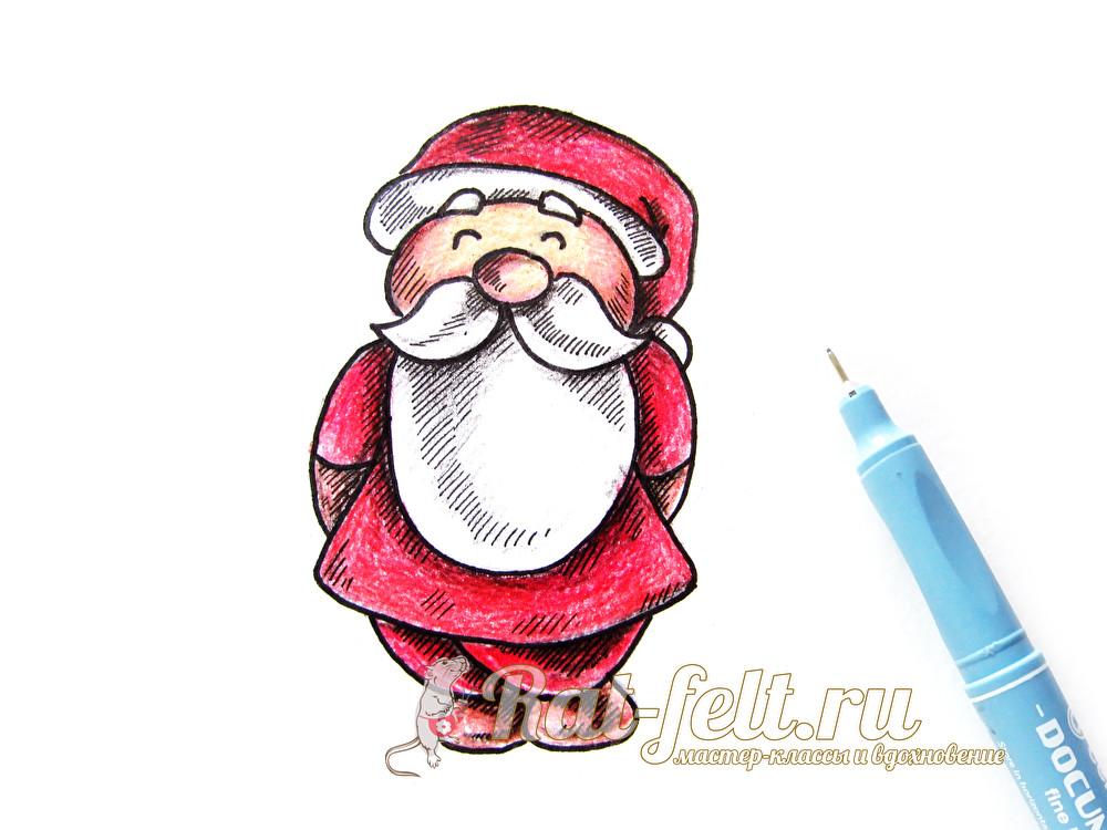 Нарисовать прикольного деда мороза пошагово, открытки день