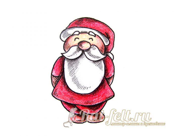 Дед Мороз нарисованный карандашом
