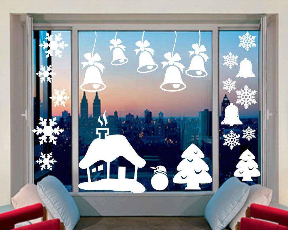 Самые красивые картинки для нового года на окна, днем
