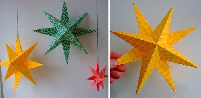 Объемная звездочка на елку из цветной бумаги