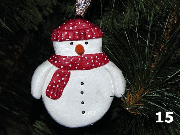 Снеговик из солёного теста