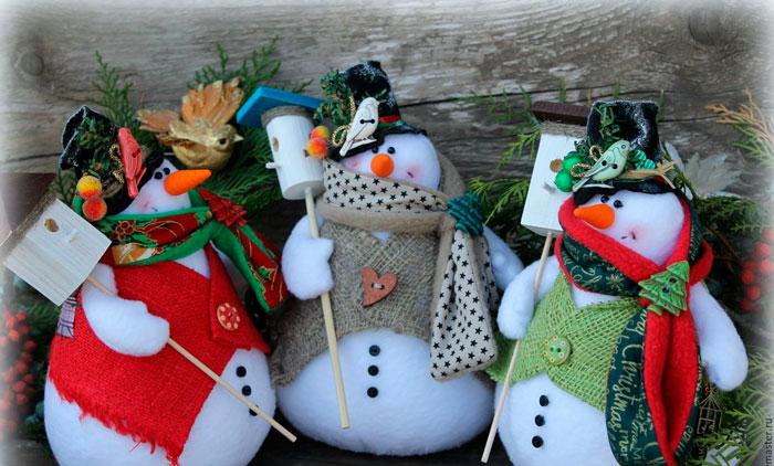 Как сделать снеговика из фетра