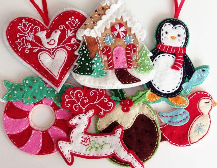 Как сшить новогодние игрушки из фетра
