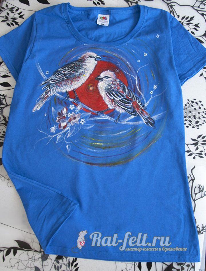 футболка с птицами