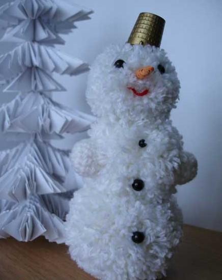 Снеговик из нитки или пряжи
