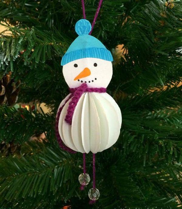 Объемный снеговик из бумаги для новогодней елки