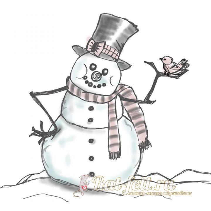 снеговик с птичкой в руках