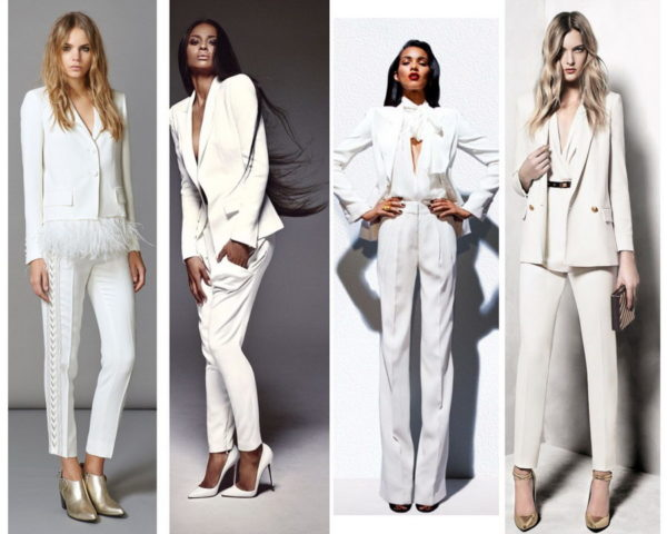 Брючный костюм белого цвета