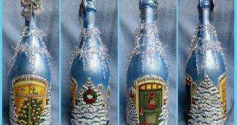 Миниатюра к статье Декупаж бутылки шампанского на Новый год 2019