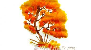 Миниатюра к статье Как нарисовать осеннее дерево отпечатками пальцев и в технике кляксографии