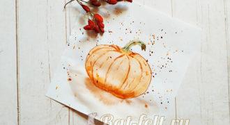 Миниатюра к статье Как нарисовать тыкву акварельными красками
