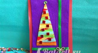 Миниатюра к статье Новогодняя открытка с елкой из бумаги