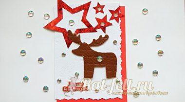 Миниатюра к статье Новогодняя открытка с изображением оленя