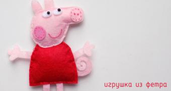 Миниатюра к статье Свинка Пеппа - выкройка игрушки из фетра