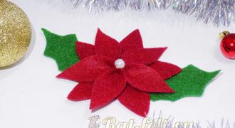 Миниатюра к статье Рождественская звезда (пуансеттия) из фетра своими руками