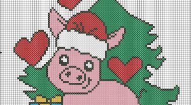 Миниатюра к статье Схемы для вышивки символа 2019 года — Свинья