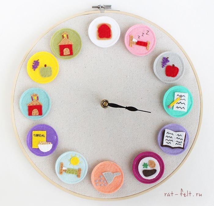 Детские часы из фетра