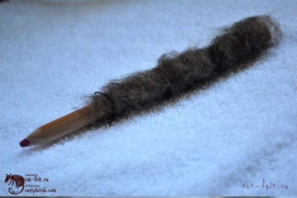 Оборачиваем карандаш шерстью 1 слой