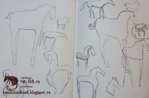 Рисунок будущей лошади из шерсти