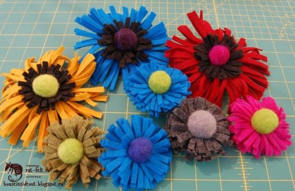 Простые цветы из шерсти для валяния и фетра