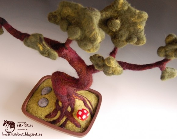 Дерево бонсай из шерсти - мастер-класс