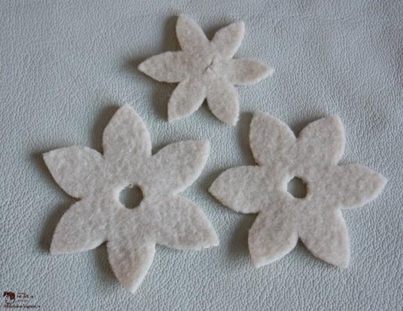 Лепестки для цветка из фетра