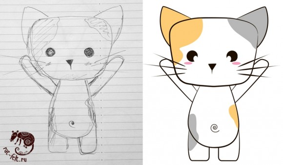 Рисунок кота ручкой и отрисовка его в иллюстраторе