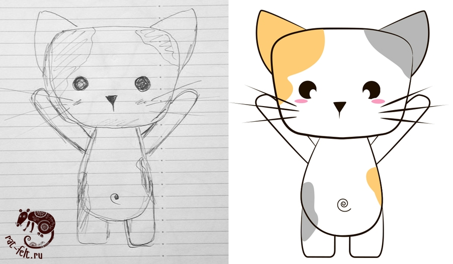 Как рисовать котиков ручкой