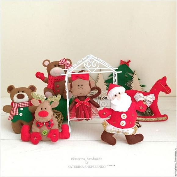 Набор фетровых елочных игрушек от Екатерины Шепеленко
