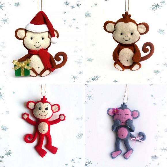 Елочные игрушки с мартышками от BelkaUA