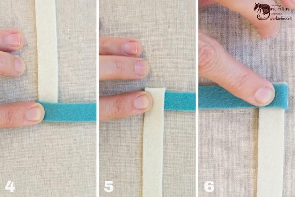 Этап 1 - сворачивание фетровых лент для гирлянды