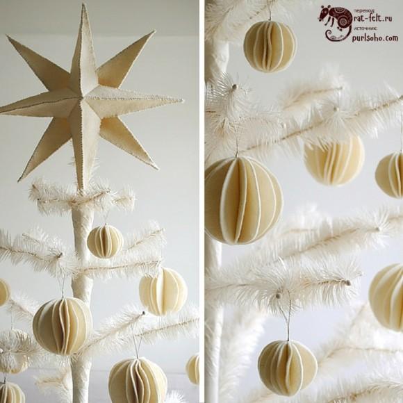 Фетровые снежки на елку - воздушное украшение