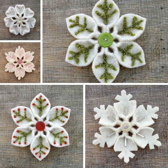 Фетровые снежинки автора Jody Bishel