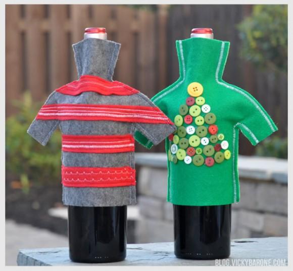 Две бутылки в свитерах на новый год своими руками
